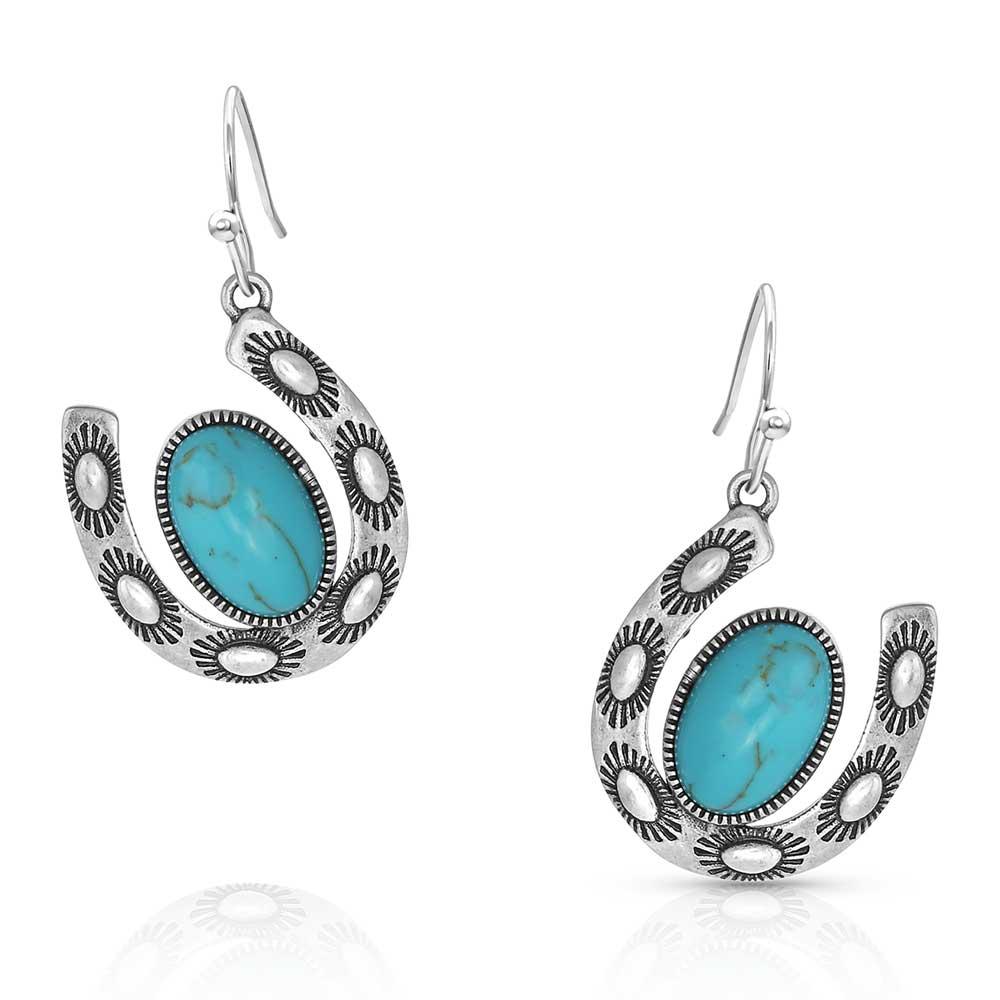 Within Luck Turquoise Horseshoe Earrings