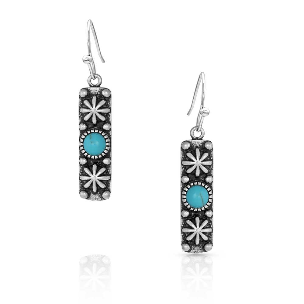 Starlight Starbrite Stone Turquoise Silver Earrings