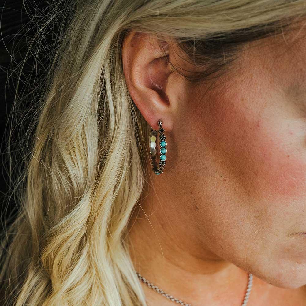 Round N Round Turquoise Hoop Earring