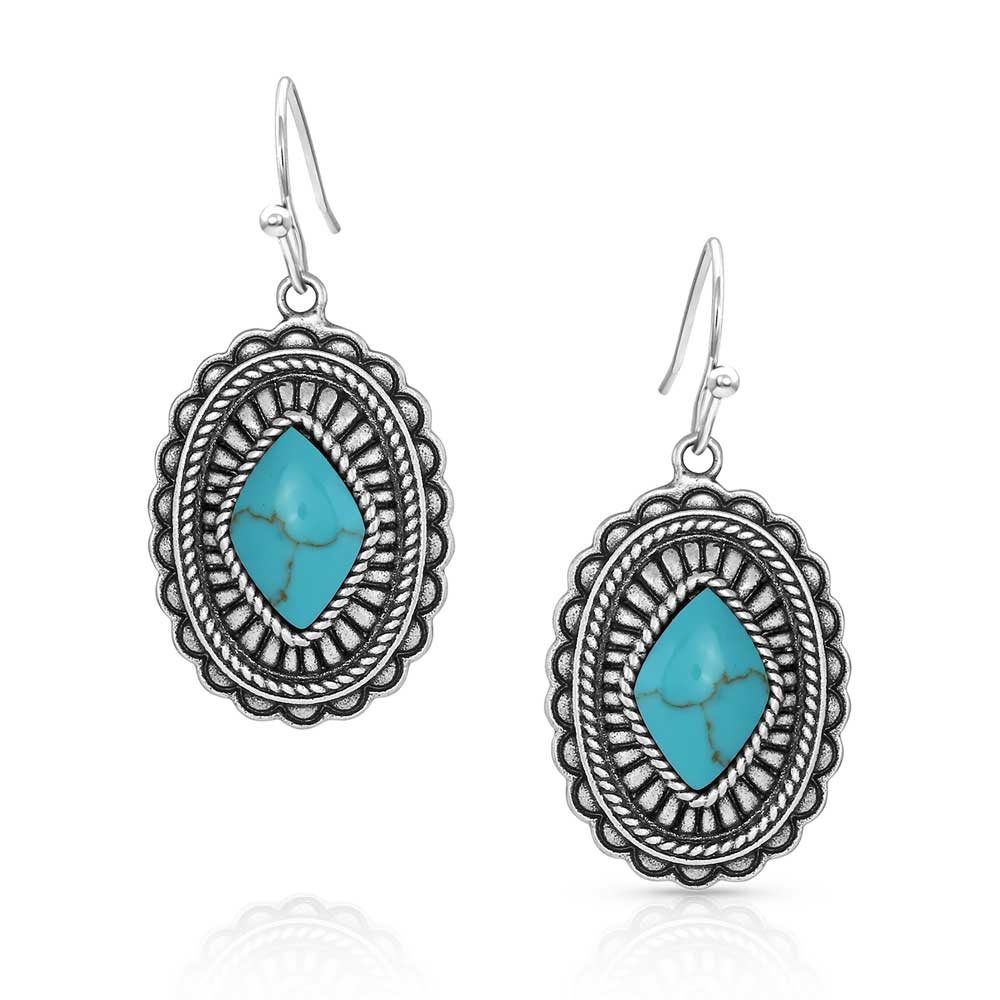 Turquoise Magic Stamped Pendant Earrings