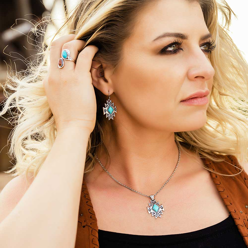 Turquoise Star Pendant Earrings