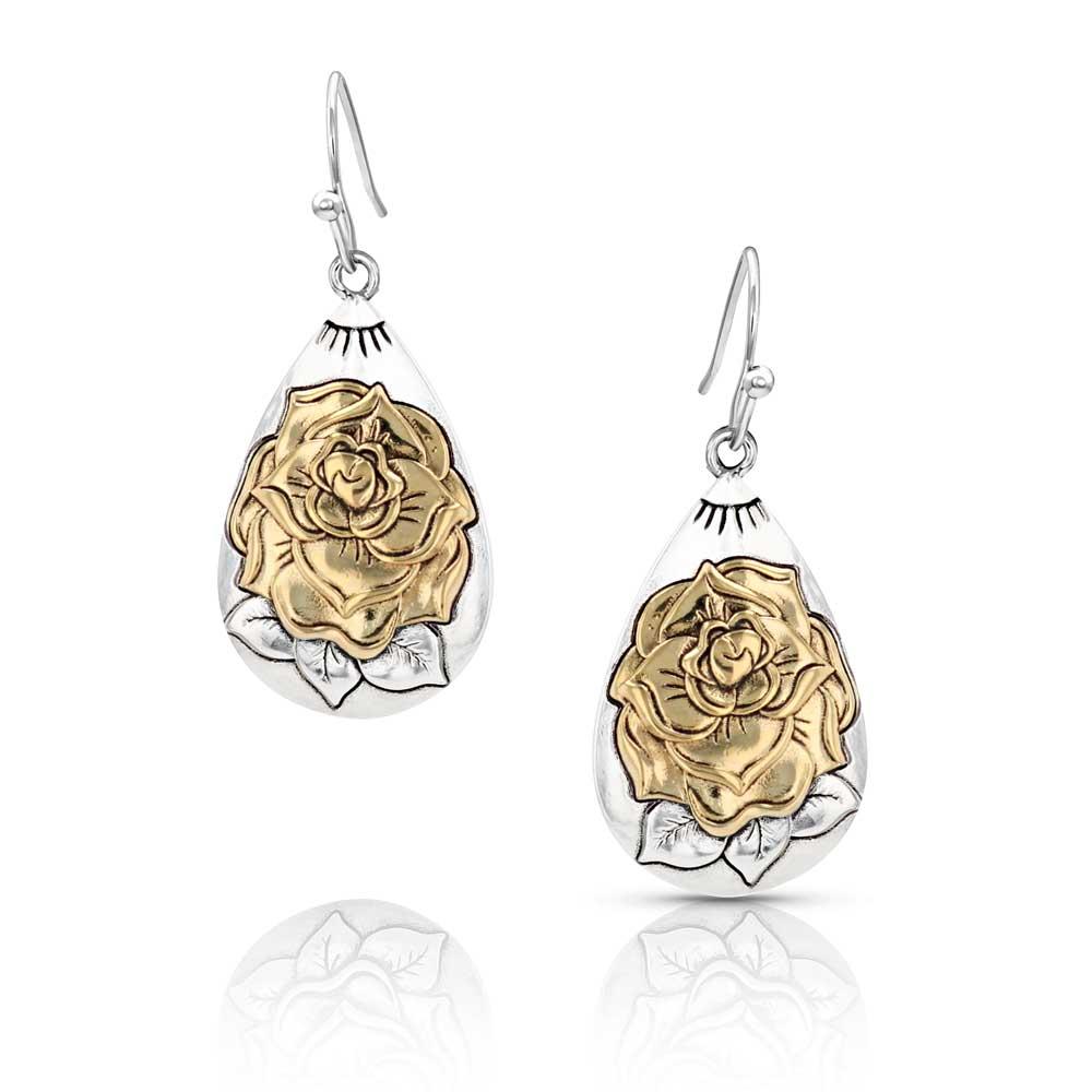 Emerging Rose Teardrop Silver Earring