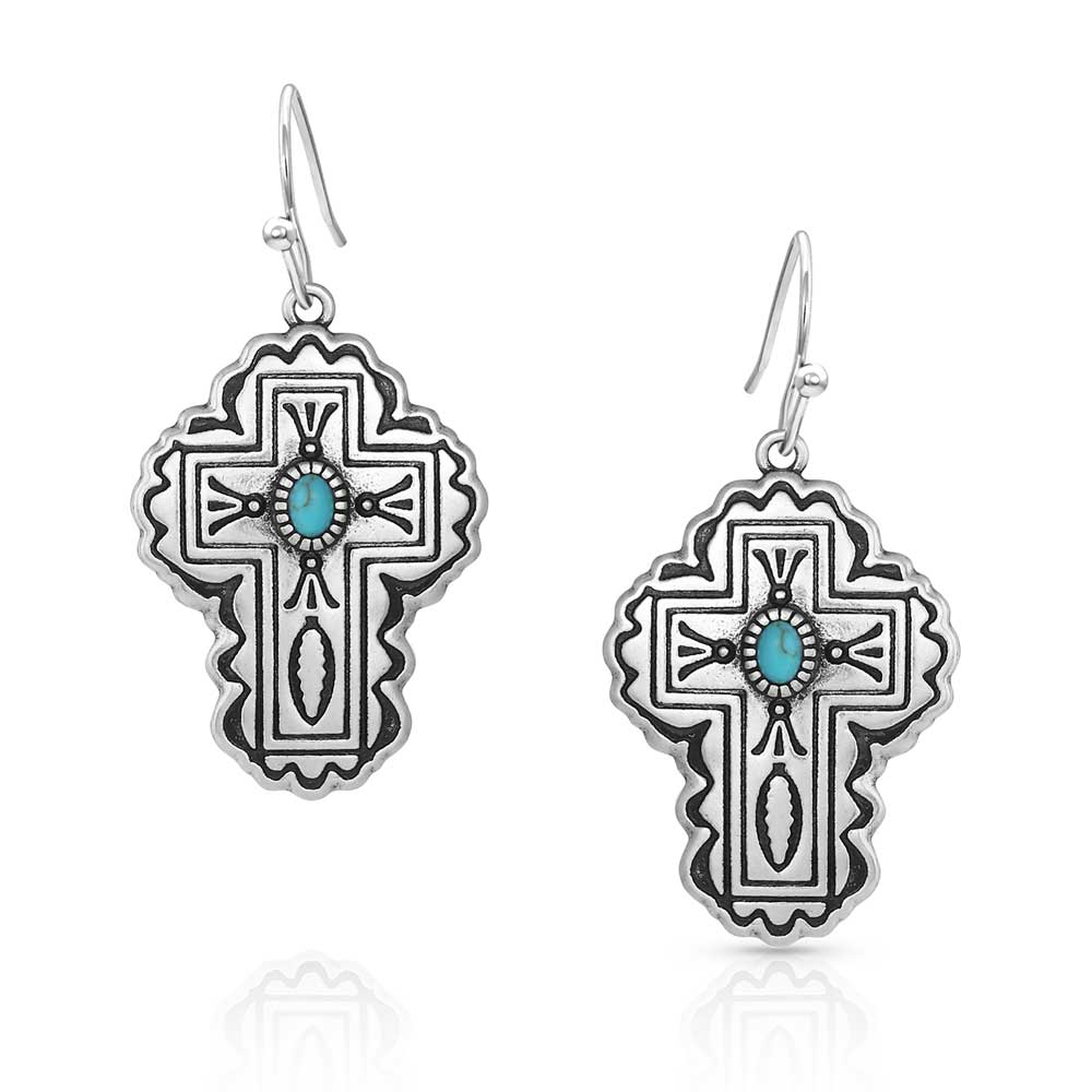 Cathedral Turquoise Silver Cross Earrings