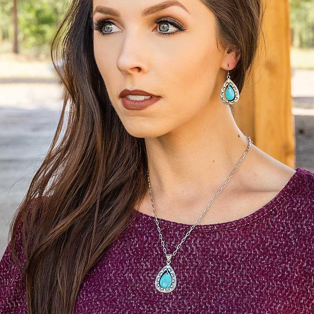 Roadrunner Turquoise Scalloped Earrings