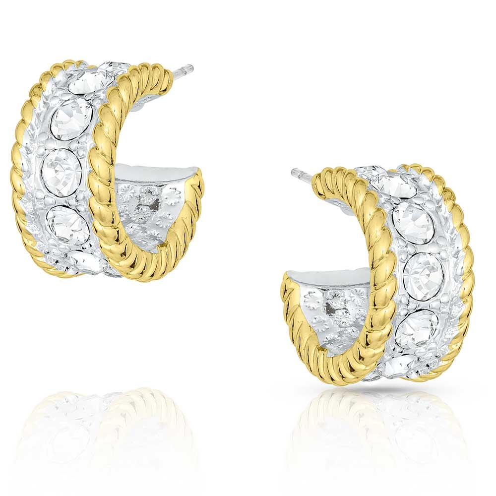 Crystal Shine in Gold Small Hoop Earrings