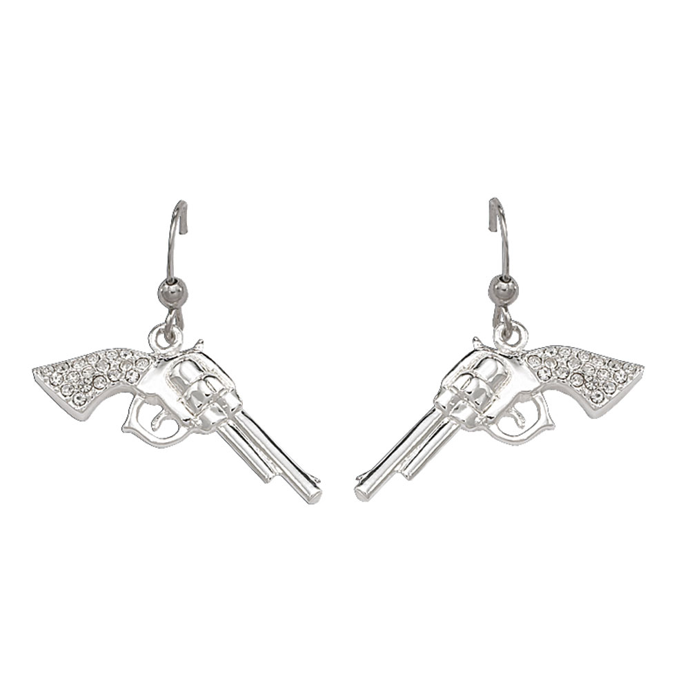 Cowgirl Pistols Rhinestone Handle Drop Earrings