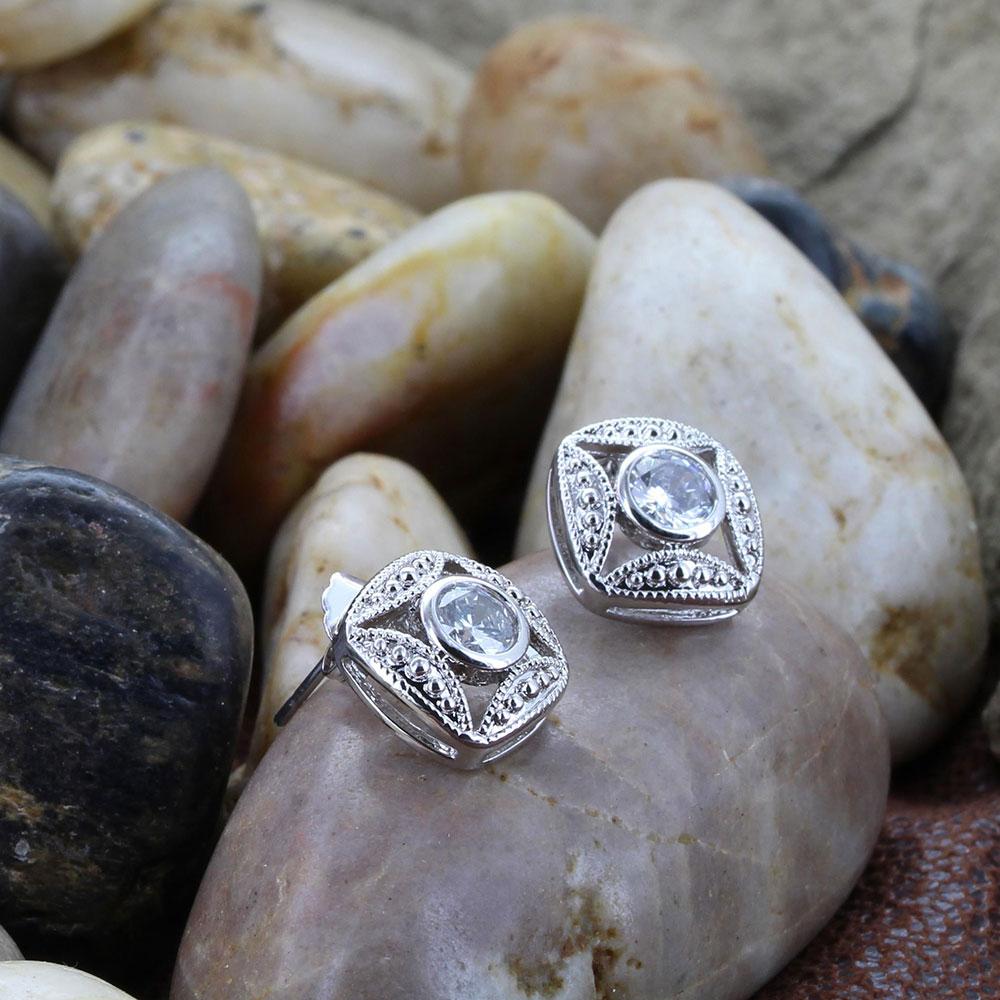 Bezel Set Square Crystal Earrings