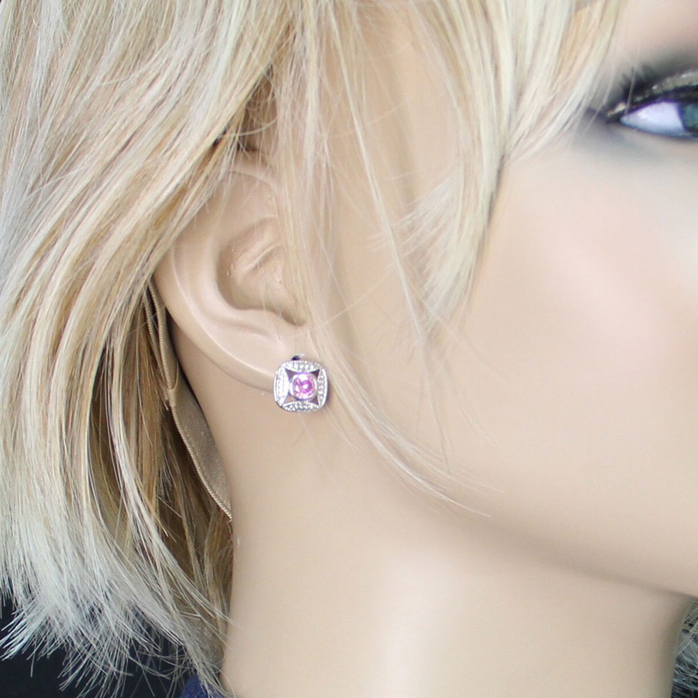 Bezel Set Square Pink Crystal Earrings
