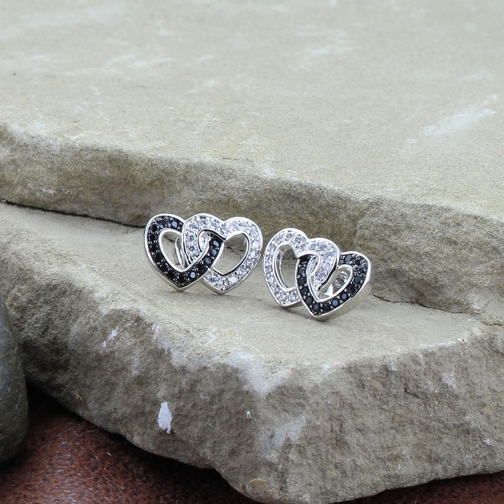 Black Crystal Double Heart Earrings