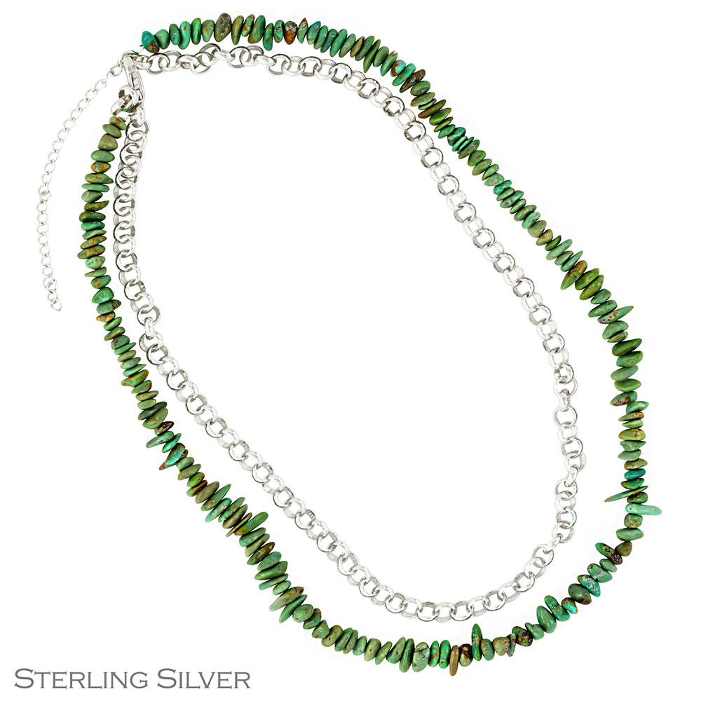 MTS Private Collection Silver and Turquoise Double Chain