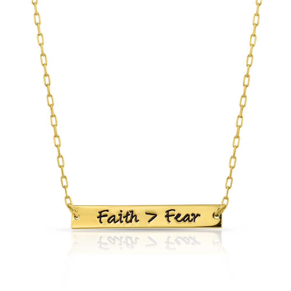Faith Over Fear Bar Necklace