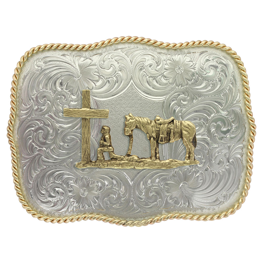 German Silver Christian Cowboy Western Belt Buckle