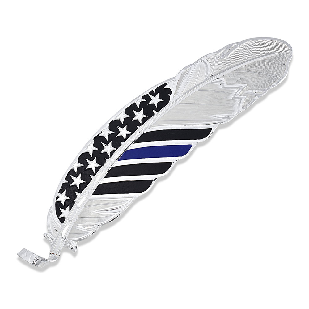 Thin Blue Line Flag Hat Feather