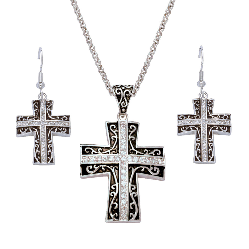 Rhinestone Cross set in Antiqued Filigree Jewelry Set