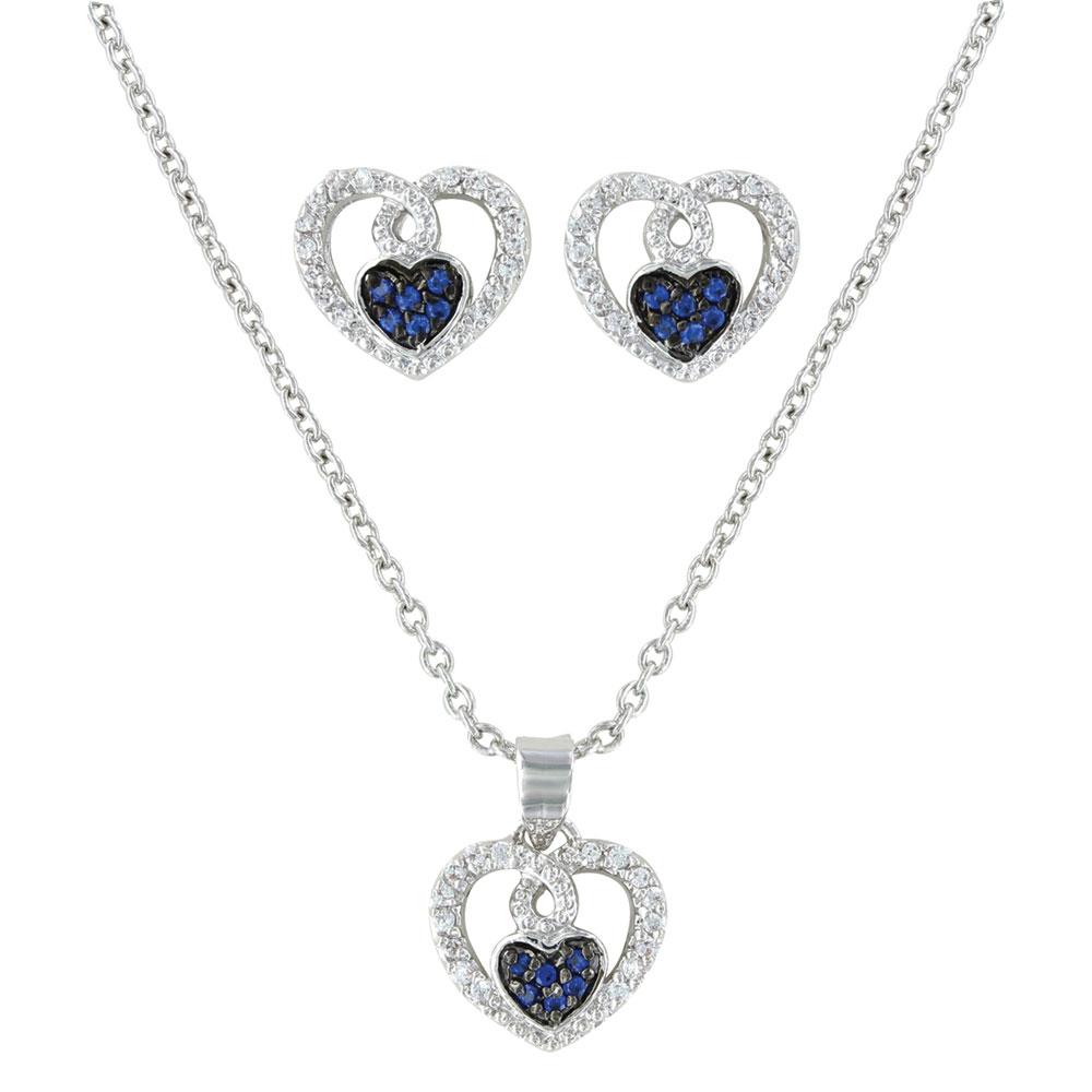 Curlicued Cerulean Heart Jewelry Set