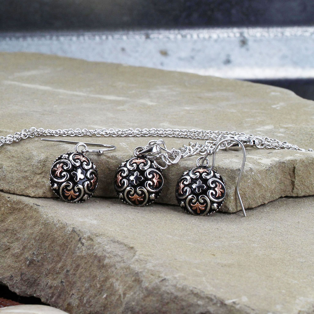Filigree Heart Button Jewelry Set