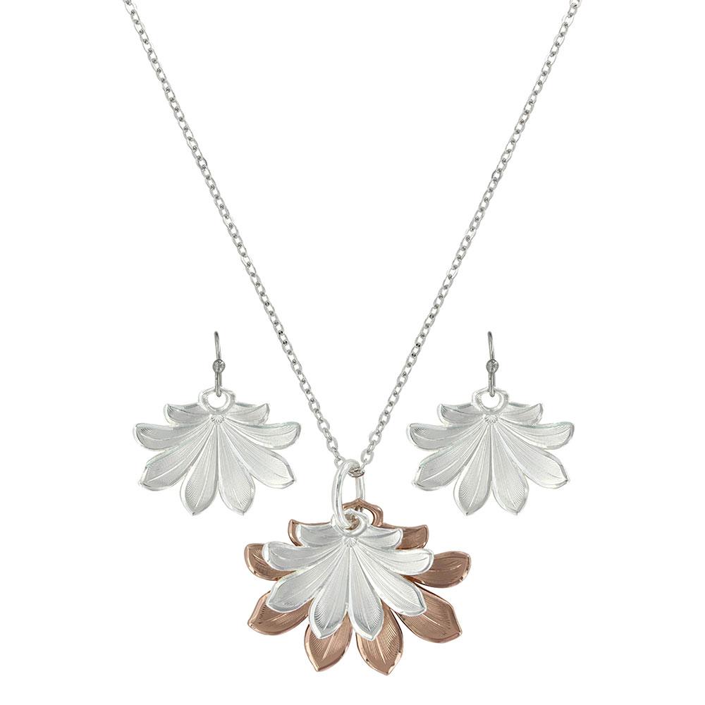 Bitterroot Two Tone Flower Fan Jewelry Set
