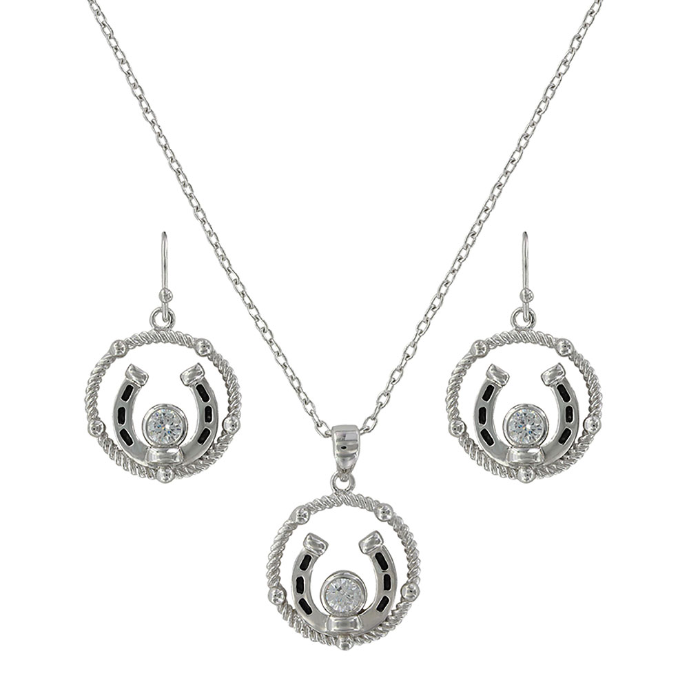 Wreathed Horseshoe Treasure Jewelry Set