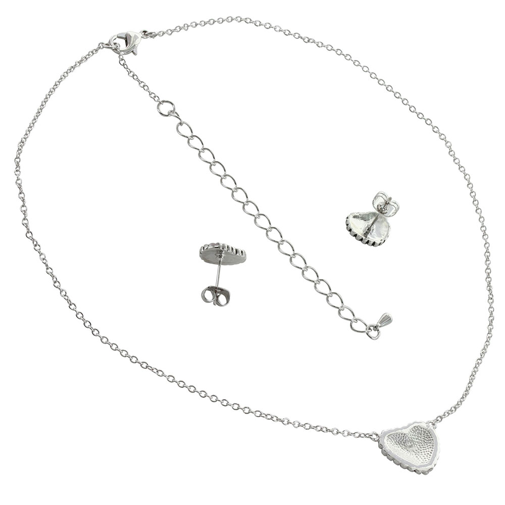 Beaded Puffy Heart Jewelry Set