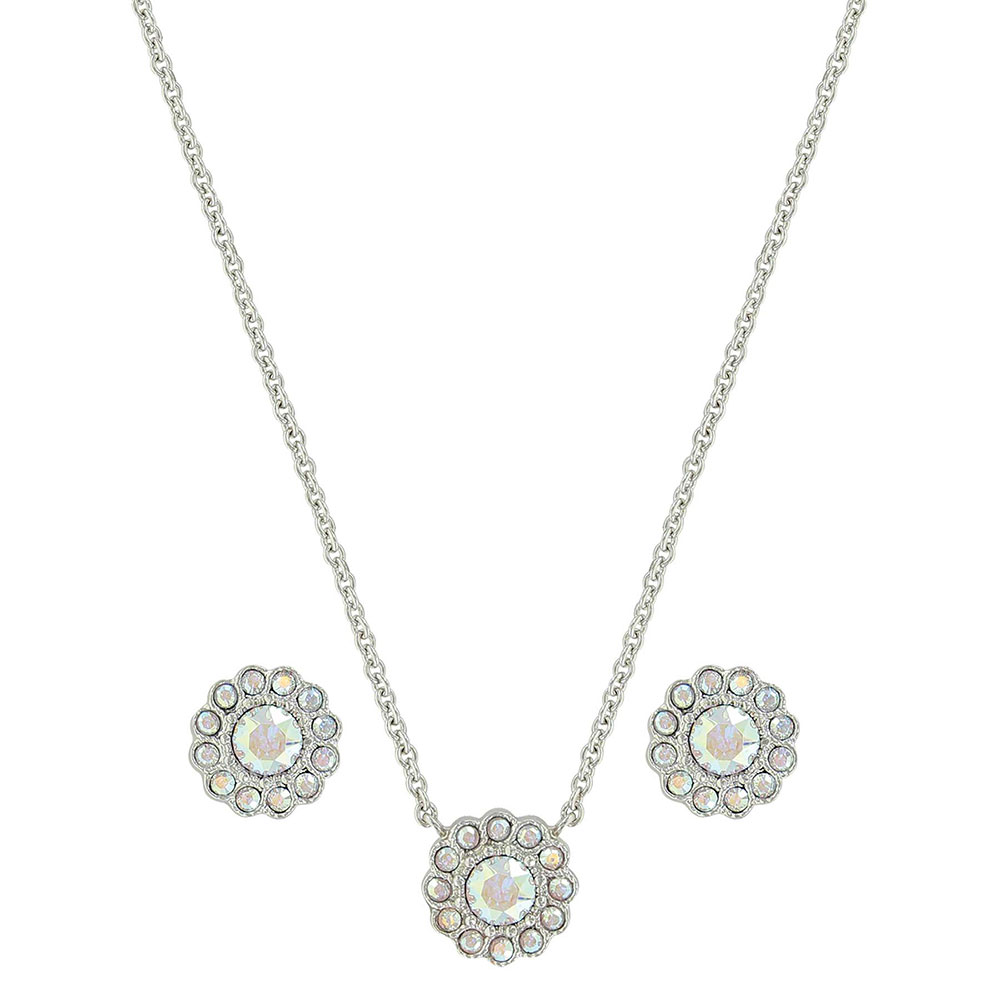 Iridescent Floral Button Jewelry Set