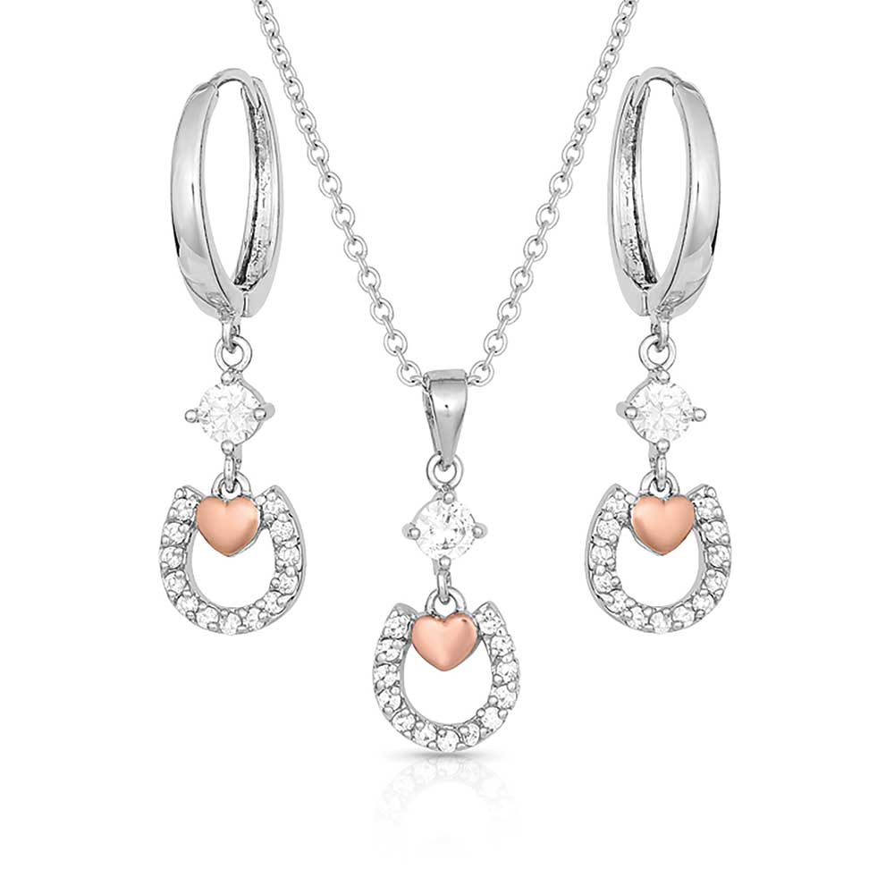 Hoofprints On My Heart Horseshoe Jewelry Set