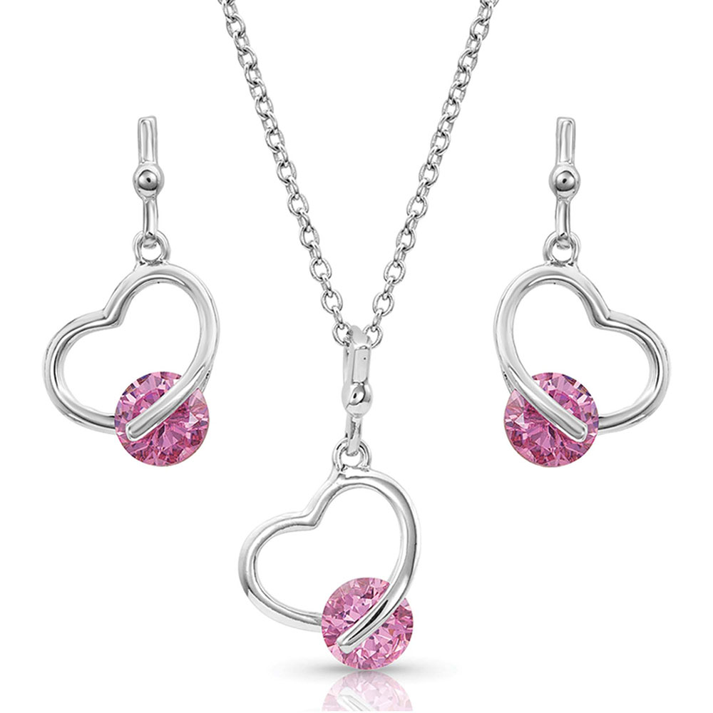 A Drop of Pink Heart Jewelry Set