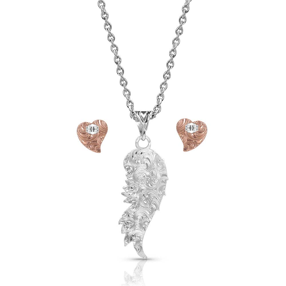 Rose Gold Heart Strings Feather Jewelry Set