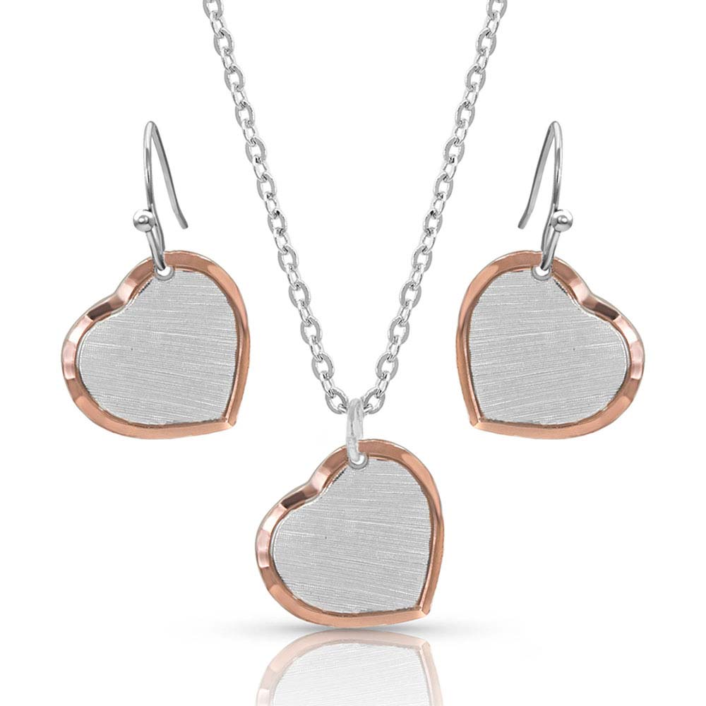 Perfectly Paired two-tone Heart Jewelry Set