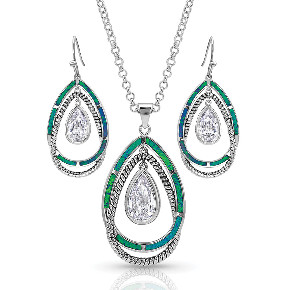 Opal Ribbons Teardrop Jewelry Set