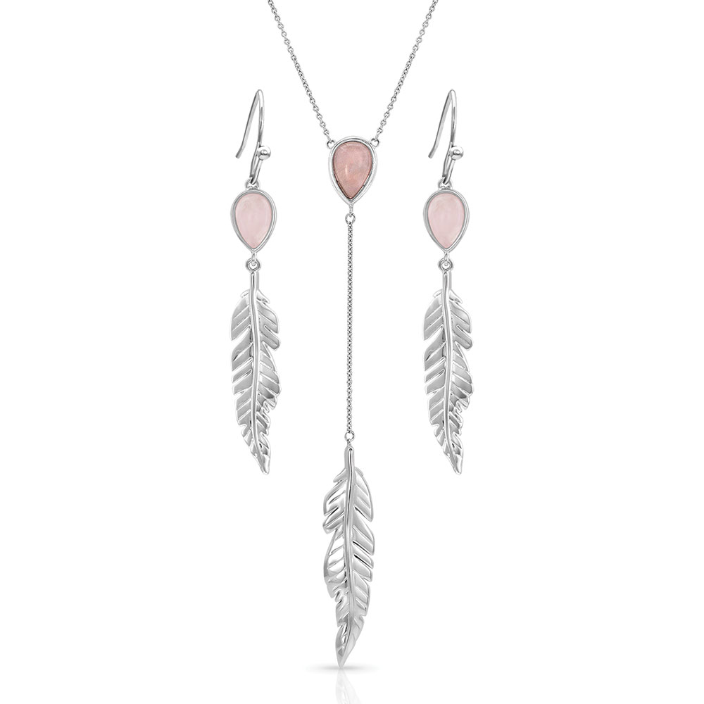 Dreamy Rose Feather Jewelry Set