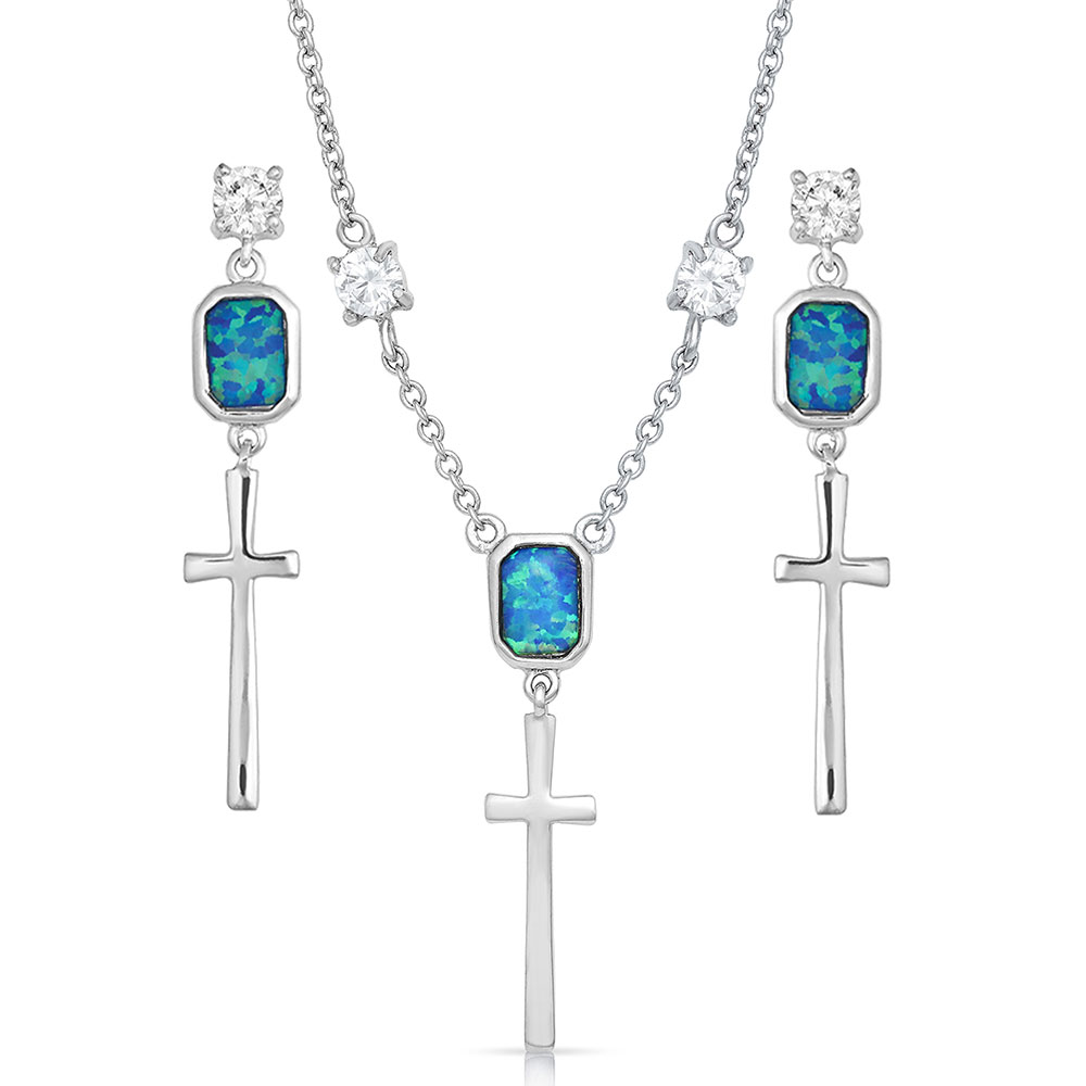 Cross Opal Dangle Jewelry Set