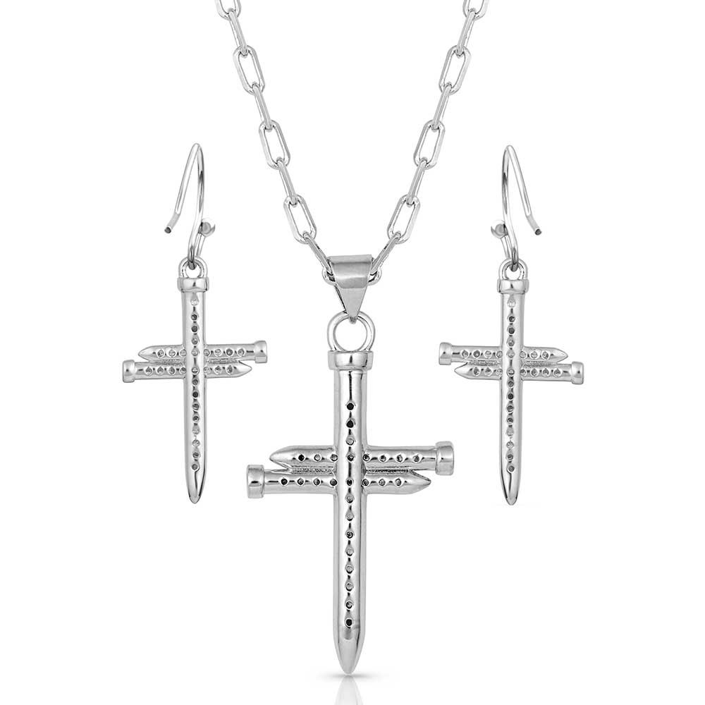 Sparkling Nail Cross Jewelry Set