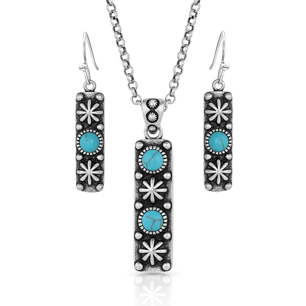Starlight Starbrite Stone Turquoise Silver Jewelry Set