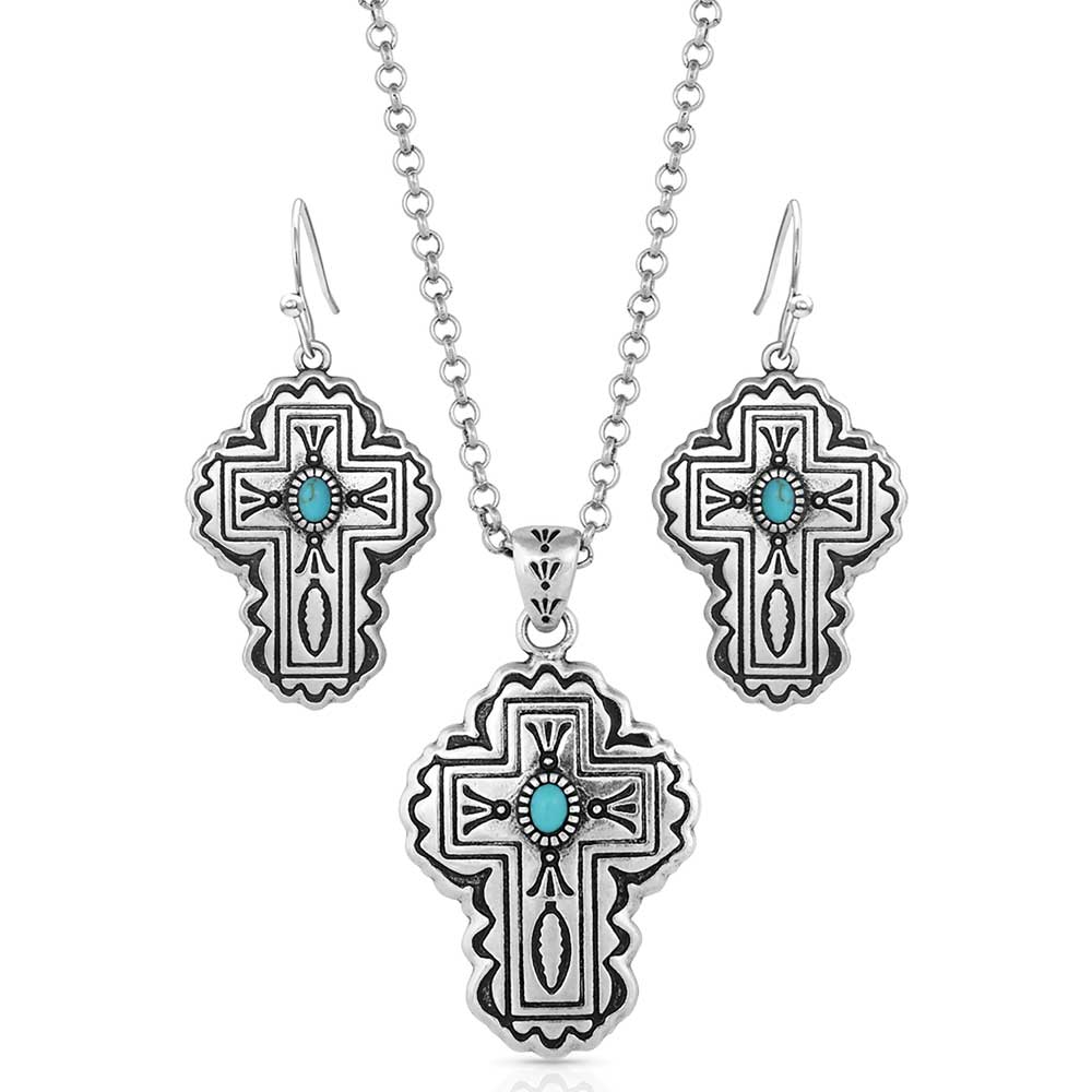 Cathedral Turquoise Silver Cross Jewelry Set