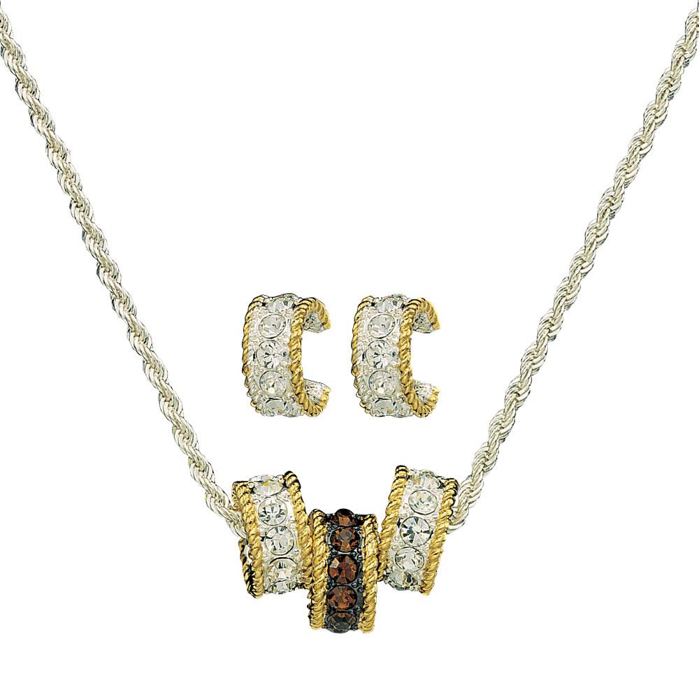 Topaz Crystal Shine Triple Rings Jewelry Set