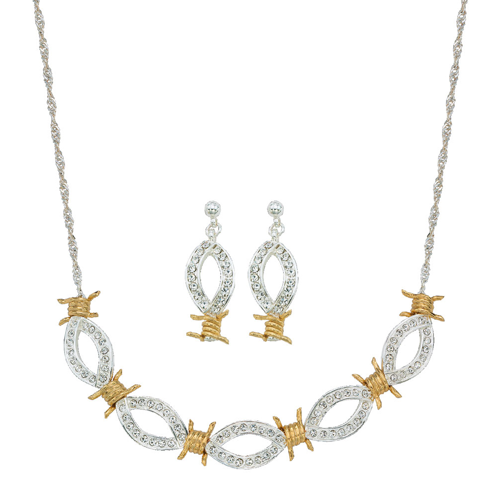 XOXO Crystal Barbed Wire Jewelry Set