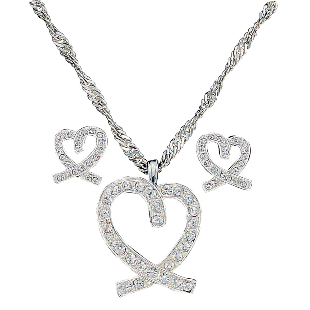 A Caring Heart in Clear Rhinestones Jewelry Set