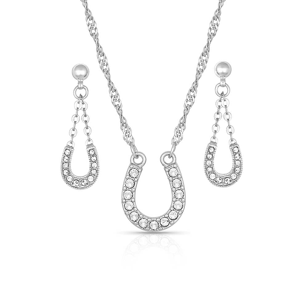 Crystal Clear Lucky Horseshoe Jewelry Set
