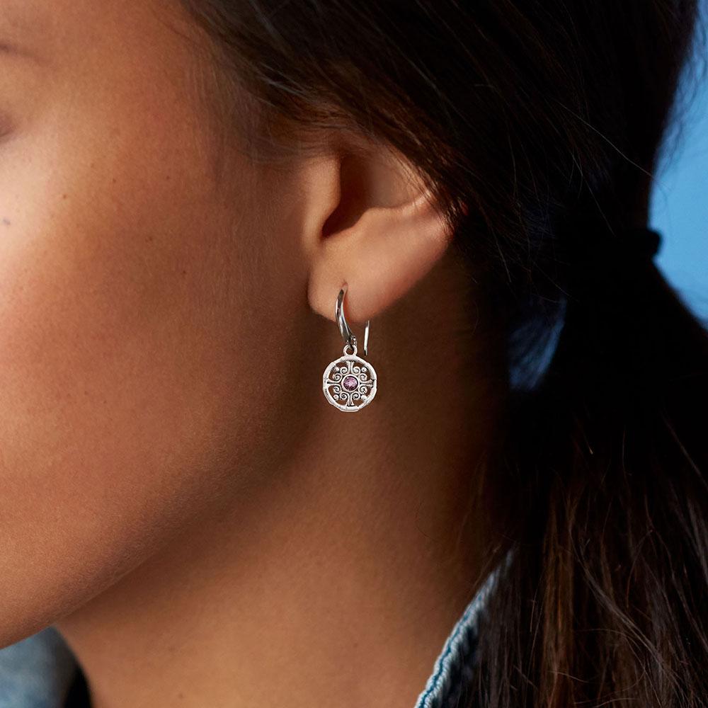 Laurels Amethyst Drop Earrings
