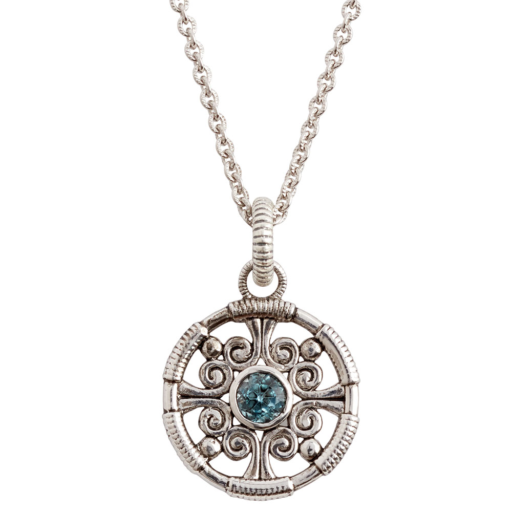 Laurels Blue Topaz Pendant Necklace