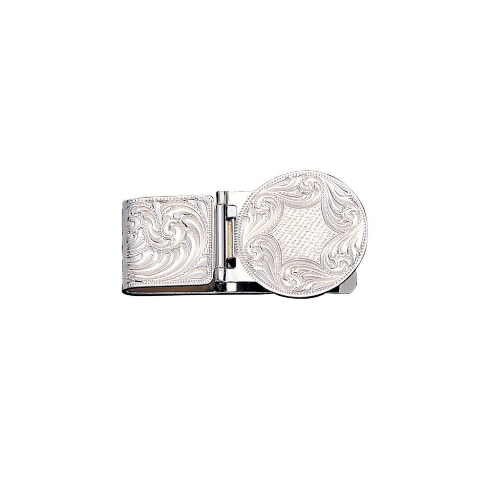 Custom Silver Engraved Hinged Money Clip (2.20
