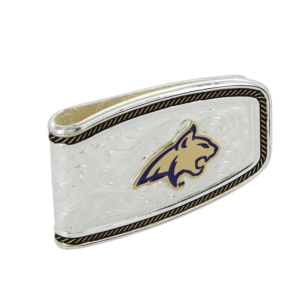 MSU Two Tone Softly Roped Money Clip with Bobcat Head