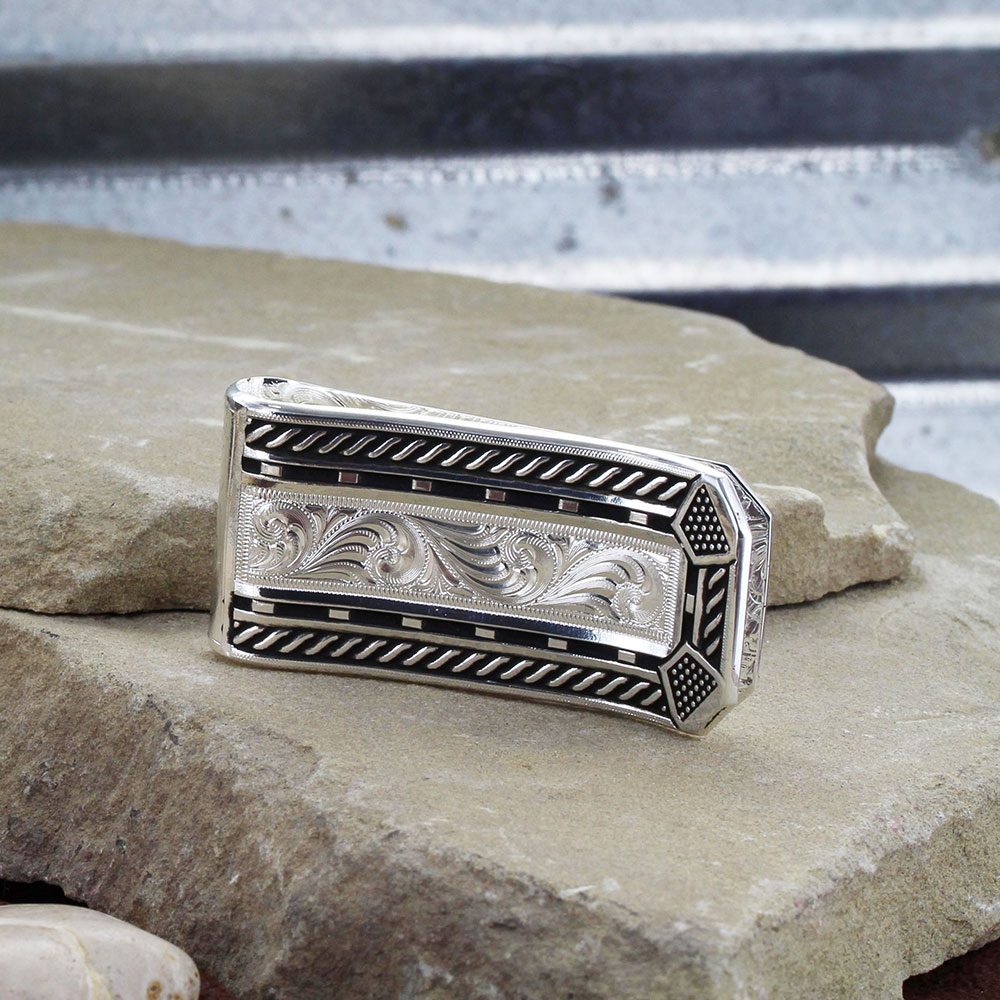 Roped Horseshoe Nail Head Money Clip