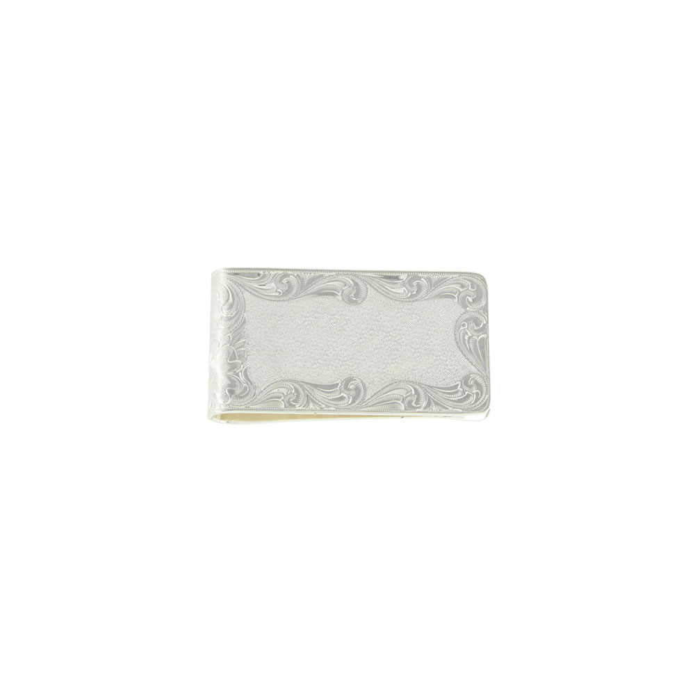 Custom Silver Engraved Square Money Clip - Any Figure