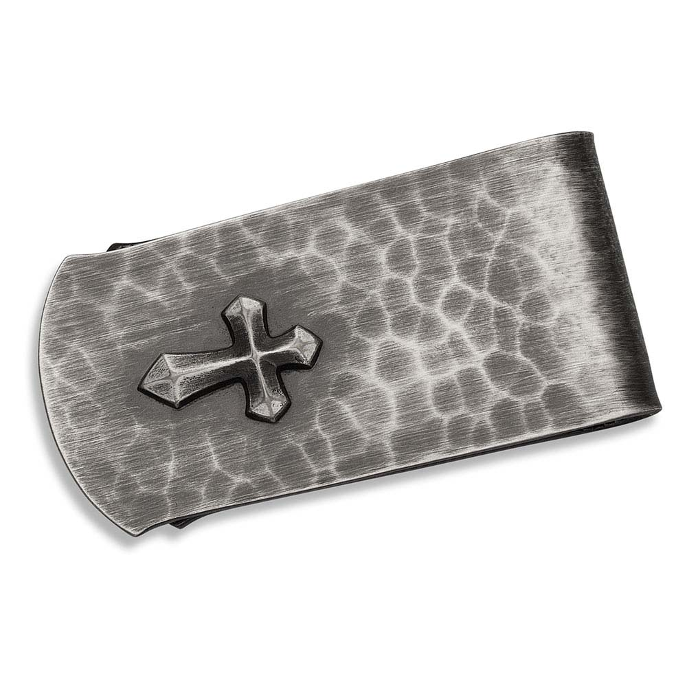 Hammered Money Clip With Cross