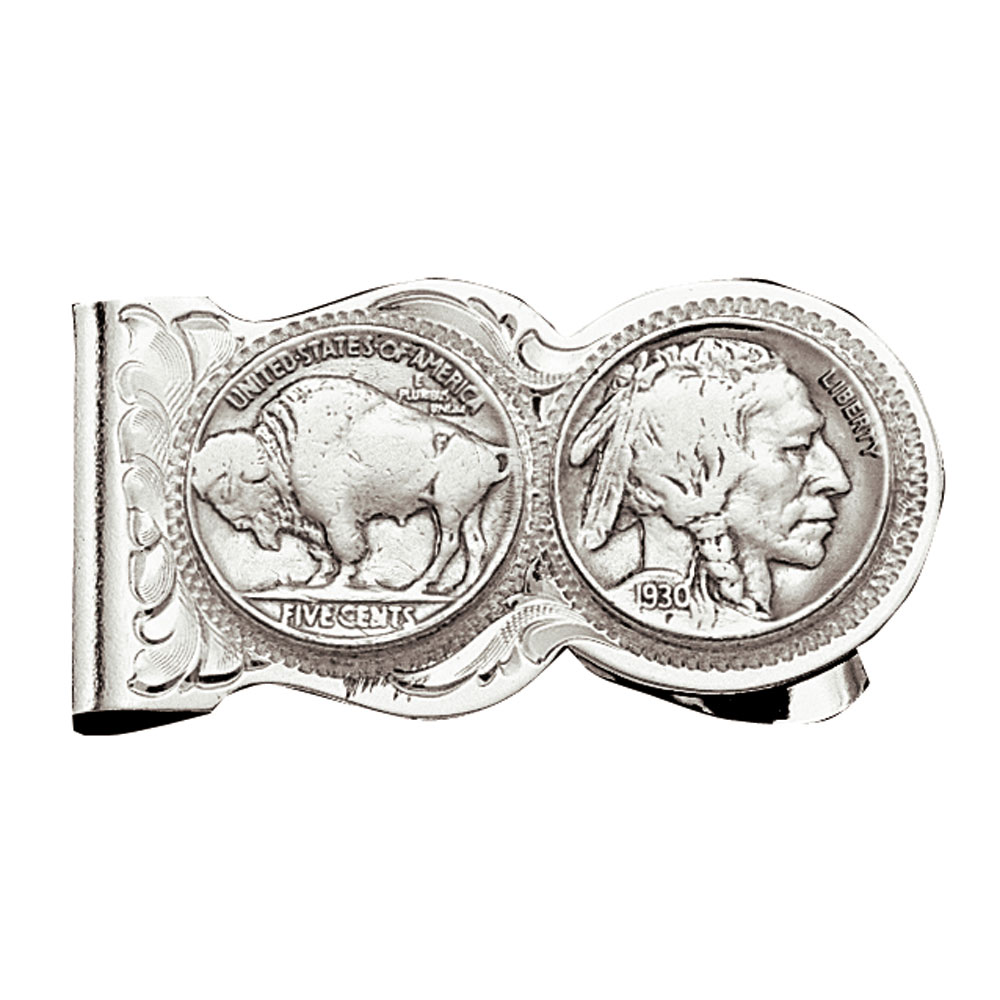 Buffalo Indian Nickel Scalloped Money Clip