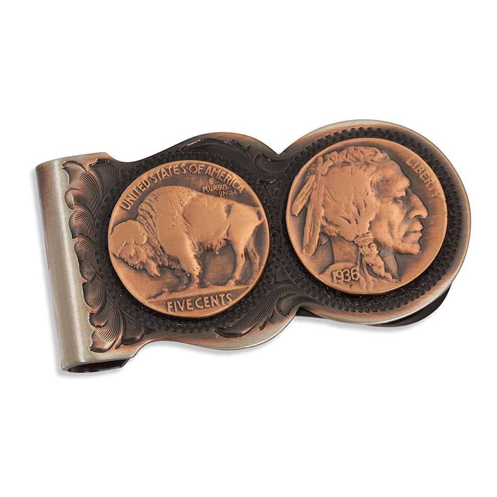 Scalloped Vintage Bronze Buffalo Nickel Money Clip