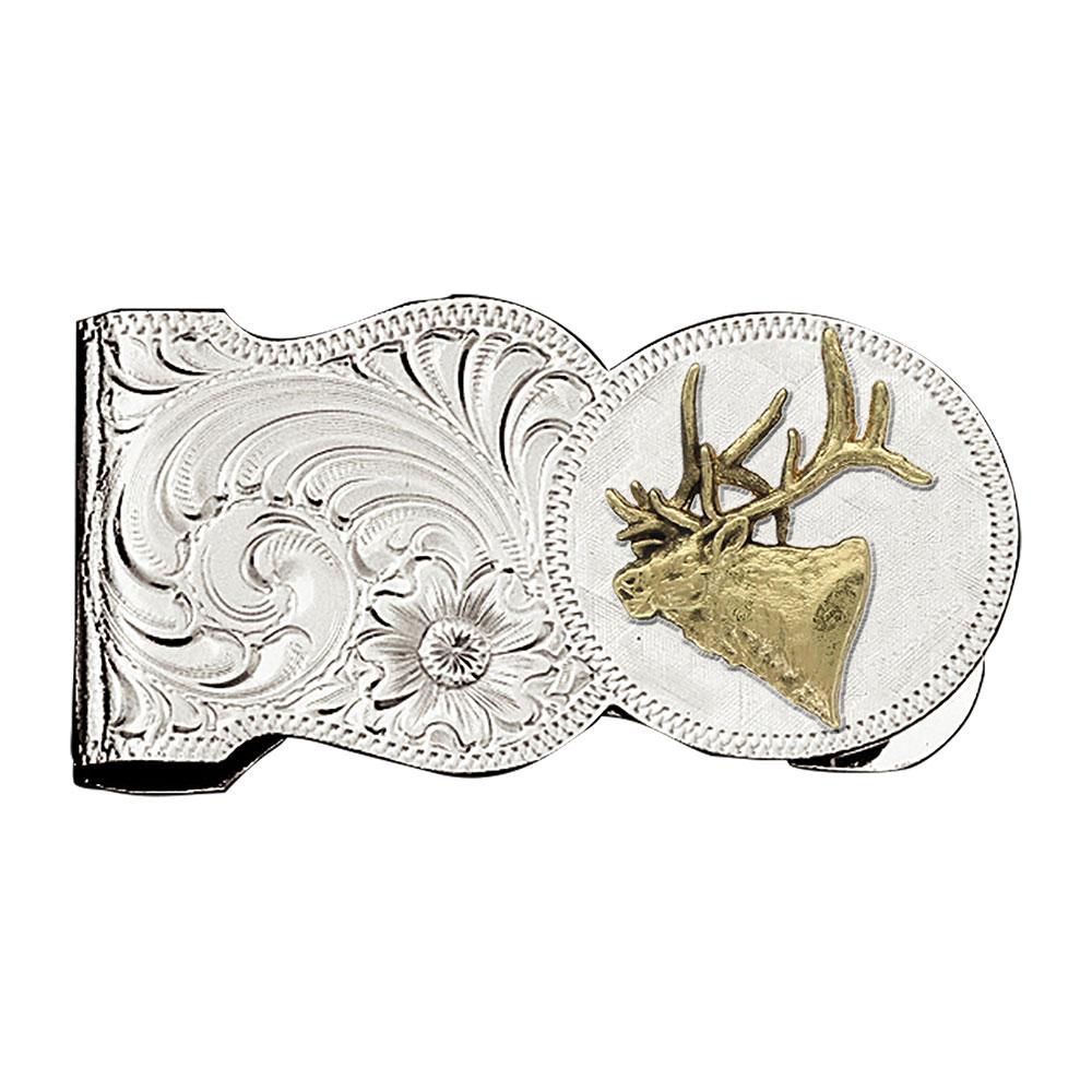 Elk Head Scalloped Money Clip