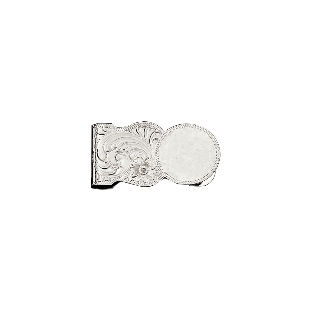 Custom Silver Engraved Scalloped Shape Money Clip (2.13
