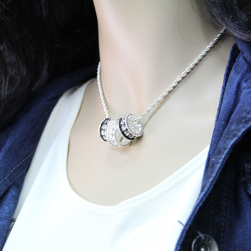 Crystal Shine Three Ring Necklace